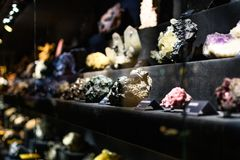 Mineral collection in museum. Collection of minerals exposed in the natural museum of Florence Stock Photo