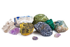 Collection of minerals isolated Royalty Free Stock Photography