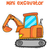Collection of mini excavator cartoon Stock Images