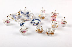 Collection of miniature tea set Royalty Free Stock Images