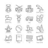 A collection of minimalistic thin line icons for various toys' kinds and categories and activities for kids, babies and Stock Photo