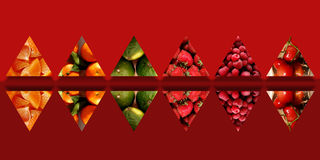 Collection of mirrored triangles full of fruity textures. Mirrored triangles with shadow underneath and filled with different fruits: orange pieces, tangerines Stock Photo