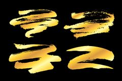 Golden paint strokes. Collection of miscellaneous artistic golden grunge brush strokes isolated over black background. Set of hand drawn design elements. Vector Royalty Free Stock Photos