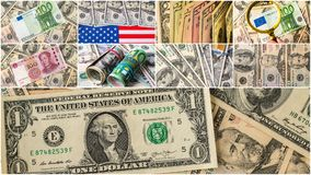 Collection of mixed paper money, dollar and euro Royalty Free Stock Image