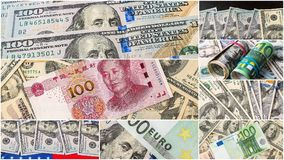 Collection of mixed paper money, dollar and euro. Stock Photo