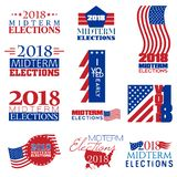 Collection of mnemonics on Midterm Elections. Held on 6th November 2018 vector illustration