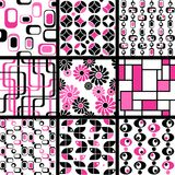 Collection of mod seamless patterns in pink royalty free illustration