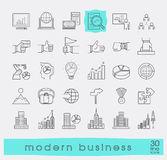 Collection of modern business icons. Royalty Free Stock Images