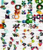 Collection of modern business infographic templates made of abstract geometric shapes. Option banners mega set. Vector illustration Stock Photography