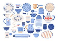 Collection of modern ceramic kitchen utensils or crockery - cups, dishes, bowls, pitchers. Set of decorative tableware. Items isolated on white background vector illustration