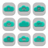 Collection of Modern Cloud App Icons and Logos. Set of 9 Royalty Free Stock Photography