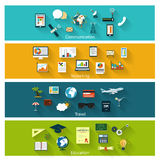Collection of modern concept icons in flat design Stock Photography