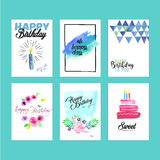 Collection of modern design birthday greeting cards. Hand drawn watercolor vector illustration concepts for website banners and print material vector illustration