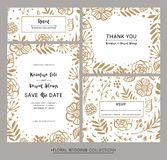 Collection of modern design wedding invitation cards. Save the d Royalty Free Stock Image