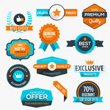 Collection of modern, flat design-styled labels and design eleme Stock Photography