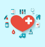 Collection flat icons of hearts and medical elements. Illustration collection modern flat icons of hearts and medical elements, simple style with long shadow stock illustration