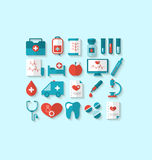 Collection modern flat icons of medical elements and objects Royalty Free Stock Images