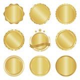Collection of modern, gold circle metal badges, labels and design elements. Vector illustration stock illustration