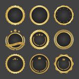 Collection of modern, gold circle metal badges, labels and design elements. Vector illustration.  stock illustration