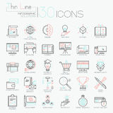 Collection of 30 modern icons in thin line style Stock Photo