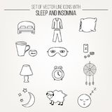 Collection of modern line vector white with black outline icons insomnia and sleep problems symbols. Sleep deprivation pictograms. Set of isolated thin lined Stock Photography