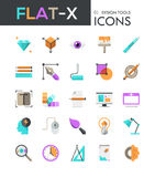 Collection of 25 modern multicolored pictograms in flat style Stock Image
