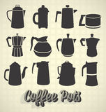 Coffee Pot Silhouettes. Collection of modern and retro coffee pot silhouettes Stock Photos