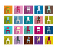Collection of modern shadows chair flat icon. Stock Photography