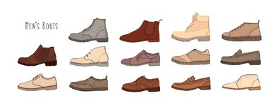 Collection of modern and stylish men s footwear stock illustration