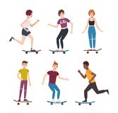 Collection of modern teenage skater boys and girls riding skateboards. Set of young teenagers skateboarding. Cute. Cartoon characters isolated on white Stock Photo