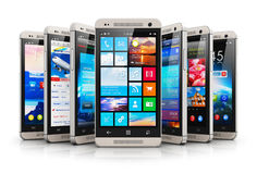 Collection of modern touchscreen smartphones Royalty Free Stock Photo