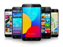 Collection of modern touchscreen smartphones Stock Photos