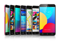 Collection of modern touchscreen smartphones Royalty Free Stock Image