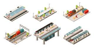 Collection moderne isométrique de transport ferroviaire Photographie stock