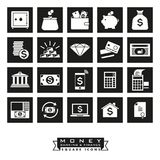 Money, banking and finance square icon set. Collection of 20 money, banking and finance related black square icons Royalty Free Stock Photos