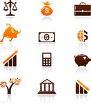 Collection of money and finance icons Royalty Free Stock Photography
