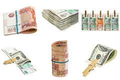 Collection of money isolated on white. Background Royalty Free Stock Images