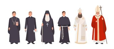 Collection of monks, priests and religious leaders of Catholic and Orthodox christian churches. Bundle of clergymen or. Male flat cartoon characters isolated on stock illustration