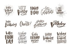 Collection of monochrome birthday wishes or hand drawn lettering decorated with festive elements - party hat, glass of. Champagne, balloon, confetti. Vector Stock Photo
