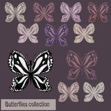 Collection of monochrome and colored butterflies Stock Image