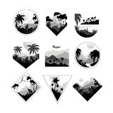 Collection of monochrome geometric tropical logo, badges with tropical trees, retro style design for banner, poster. Placard, brochure vector Illustrations Stock Image