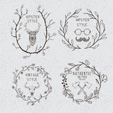 Collection of the monochrome hipster labels Stock Photos