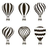 Air balloon set. Collection of monochrome hot air balloon images vector illustration