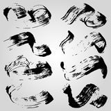 Collection of monochrome ink blots on a light background vector illustration. (vector eps 10 royalty free illustration