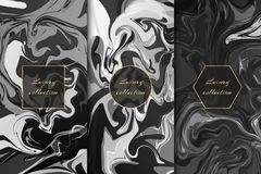 Collection of monochrome marble backgrounds vector illustration