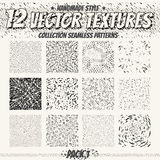 Collection monochrome seamless textures for digital design. Vector patterns for web, textile, fabric and other. Stock Photos