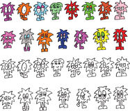 Collection of Monster Ficticious Cartoon Characters Stock Photo