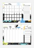 Collection of month and weekly planner templates with week starting on Sunday, square cells for notes, colorful abstract. Ornaments on background and to do list Royalty Free Stock Images
