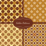 Collection of mosaic geometric pattern in golden colors Royalty Free Stock Photo