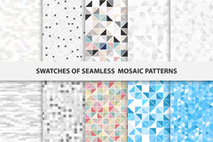 Collection of mosaic seamless swatches. Stock Photo